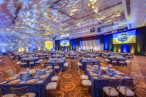 Tradeshow Event Decor of ballroom dinner tables and lighting